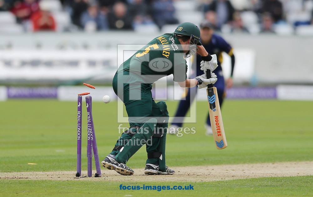 Steven Mullaney of Nottinghamshire Outlaws getting bowled during the Royal London One Day Cup match at Emirates Durham ICG, Chester-le-Street<br /> Picture by Simon Moore/Focus Images Ltd 07807 671782<br /> 06/09/2014