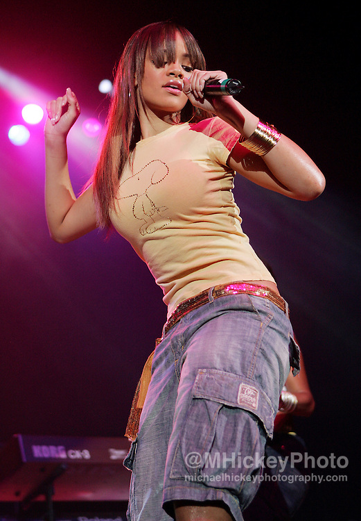 Rihanna performs at the Pepsi Coliseum during the RadioNow 93.1Santa Slam concert Dec 14, 2005 in Indianapolis, IN. Photo by Michael Hickey