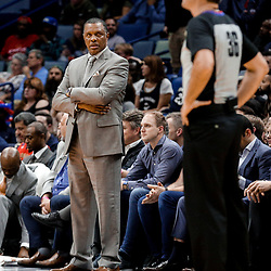Nov 29, 2017; New Orleans, LA, USA; New Orleans Pelicans head coach Alvin Gentry looks over at official Brent Barnaky during the second half against the Minnesota Timberwolves at the Smoothie King Center. The Timberwolves defeated the Pelicans 120-102. Mandatory Credit: Derick E. Hingle-USA TODAY Sports