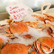 Fresh crabs on display at Pike Place Market, Seattle