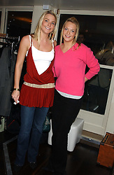 Left to right, sisters the HON.KIRSTY HAMILTON-SMITH and the HON.TANYA HAMILTON-SMITH daughters of Lord Colwyn at the launch of a new bar Bardo, 101-105 Walton Street, London SW3 on 29th November 2005.<br />