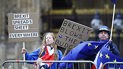 © Licensed to London News Pictures. 22/11/2017. London, UK. Anti Brexit demonstrators stand outside Parliament as Chancellor Philip Hammond delivers his budget. Photo credit: Peter Macdiarmid/LNP