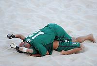 FIFA BEACH SOCCER WORLD CUP 2008 ITALY - SPAIN  26.07.2008 Germano FABRO (top) hugs his goalkeeper-mate Stefano SPADA (ITA).