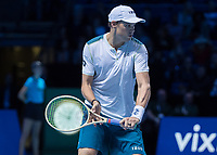 Tennis - 2017 Nitto ATP Finals at The O2 - Day Two<br /> <br /> Mens Doubles: Group Woodbridge/Woodforde: Jamie Murray (Great Britain) & Bruno Soares (Brazil) Vs Bob Bryan (United States) & Mike Bryan (United States)<br /> <br /> Bob Bryan (United States) at the O2 Arena<br /> <br /> COLORSPORT/DANIEL BEARHAM