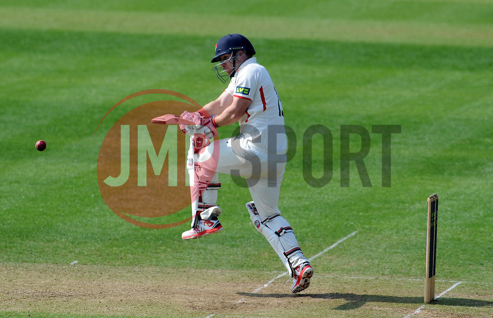 Lancashire's Steven Croft pulls the ball. - Photo mandatory by-line: Harry Trump/JMP - Mobile: 07966 386802 - 08/04/15 - SPORT - CRICKET - Pre Season - Somerset v Lancashire - Day 2 - The County Ground, Taunton, England.