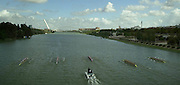2002 World Rowing Championships - Seville - SPAIN. .GV -  From the bridge looking towards the finish. Rowing Course: Rio Guadalquiver Rowing Course, Seville, SPAIN [Mandatory Credit: Peter SPURRIER/Intersport Images]<br /> <br /> 20020921 World Rowing Championships Seville, SPAIN