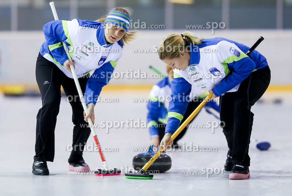 Tjasa Jazbec and Petra Klemenc during a training session of Team Slovenia Women Curling team for 2013 European Women's Curling Championships in Norway on November 18, 2013 in Arena Zalog, Ljubljana, Slovenia.  Photo by Vid Ponikvar / Sportida