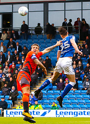 Sid Nelson of Chesterfield heads the ball away from Adam El-Abd of Wycombe Wanderers - Mandatory by-line: Ryan Crockett/JMP - 28/04/2018 - FOOTBALL - Proact Stadium - Chesterfield, England - Chesterfield v Wycombe Wanderers - Sky Bet League Two