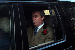 © London News Pictures. 07/05/2015. Leader of the UK Independence Party (UKIP) Nigel Farage leaves the polling station on Plains of Waterloo road, Ramsgate, Kent, UK after registering his vote in the constituency where he hopes to be elected in the 2015 election. Photo credit: Mary Turner/LNP
