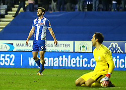 Will Grigg of Wigan Athletic celebrates scoring a goal to make it 1-0 - Mandatory by-line: Robbie Stephenson/JMP - 19/02/2018 - FOOTBALL - DW Stadium - Wigan, England - Wigan Athletic v Manchester City - Emirates FA Cup fifth round proper