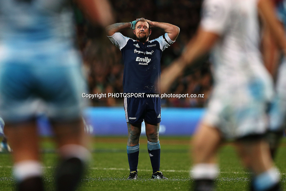 Tony Woodcock of the Blues reacts. Super Rugby rugby union match, Blues v Sharks at North Harbour Stadium, Auckland, New Zealand. Friday 23rd May 2014. Photo: Anthony Au-Yeung / photosport.co.nz