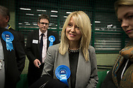 Sitting MP Esther McVey arriving at the count at Bidston Tennis Centre, Wirral for the Wirral West constituency in the 2015 UK General Election. The constituency was held by Esther McVey for the Conservative Party, who won the seat from Labour at the 2010 General Election. The constituency was one of the key marginal seats contested between the two main UK political parties.