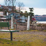 Park bench at Browns Point Lighthouse Park