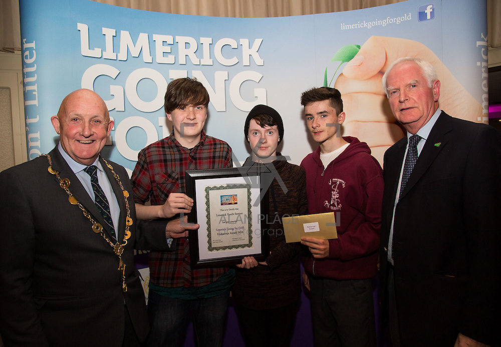 11.10.2016         <br /> The West of Limerick is awake and celebrating after Glin was announced as overall winner of Limerick Going for Gold 2016.<br /> Mayor of Limerick Cllr. Kieran O'Hanlon and Gerry Boland, JP McManus Foundation present Limerick Youth Services with an Endeavour Award. Picture: Alan Place