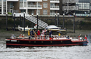 © Licensed to London News Pictures. 03/06/2012. London, UK. The Pyronaut. Boats gather at Hammersmith and Putney at their muster points before taking part in the Jubilee Padgeant. The Royal Jubilee celebrations. Great Britain is celebrating the 60th  anniversary of the countries Monarch HRH Queen Elizabeth II accession to the throne this weekend Photo credit : Stephen Simpson/LNP