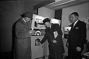 14/01/1963<br /> 01/14/1963<br /> 14 January 1963<br /> Opening of Irish Hotel and Catering Trades Exhibition at the Mansion House, Dublin. Mr Maxwell Sweeney, Editor Irish Hotelier and Mr F.X. Burke (right) Secretary of Irish Hotels Federation try a cup of coffee from a self service machine at the exhibition.
