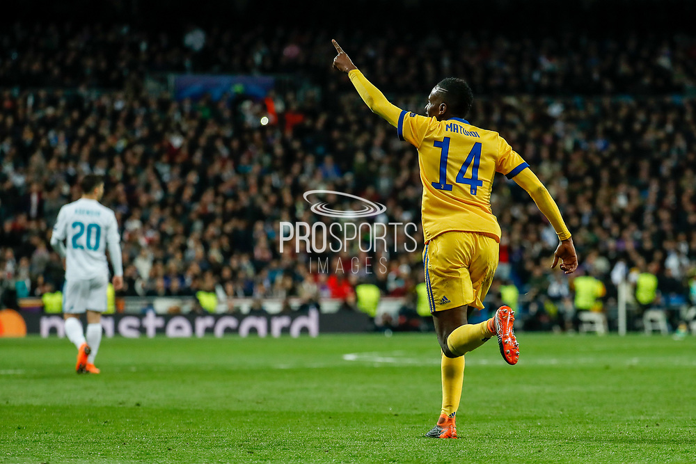 Blaise Matuidi of Juventus celebrates after his goal during the UEFA Champions League, quarter final, 2nd leg football match between Real Madrid CF and Juventus FC on April 11, 2018 at Santiago Bernabeu stadium in Madrid, Spain - Photo Oscar J Barroso / Spain ProSportsImages / DPPI / ProSportsImages / DPPI