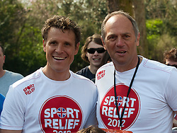 James Cracknell and Sir Steve Redgrave taking part in a one mile run for Sport Relief charity in London, 25th March 2012.  Photo by: i-Images