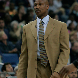 29 March 2009: New Orleans Hornets coach Byron Scott watches his team during a 90-86 victory by the New Orleans Hornets over Southwestern Division rivals the San Antonio Spurs at the New Orleans Arena in New Orleans, Louisiana.