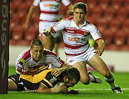Wigan - Sunday 20th September 2009: Craig Huby of the Castleford Tigers scores a try during the Engage Super League Elimination Playoff match between The Wigan Warriors & The Castleford Tigers at the DW Stadium in Wigan. (Pic by Steven Price/Focus Images)