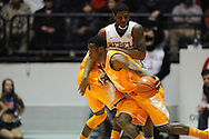 "Tennessee Volunteers guard Devon Baulkman (34) vs. Mississippi Rebels guard Martavious Newby (1) at the C.M. ""Tad"" Smith Coliseum in Oxford, Miss. on Saturday, February 21, 2015. (AP Photo/Oxford Eagle, Bruce Newman)"