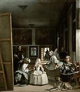 Las Meninas' (The Maids of Honour), 1656. Oil on canvas.  Portrait by Diego Velasquez (1599-1660) Spanish painter.   Infanta Margarita Teresa attended by maids of honour, chaperone, bodyguard, dwarfs and large dog. Velasquez, left.