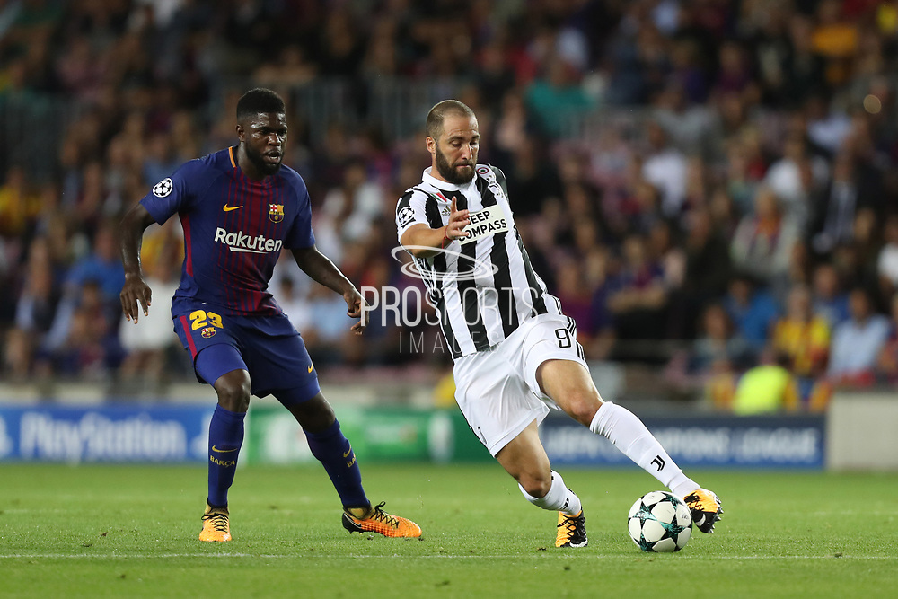 Gonzalo Higuain of Juventus during the UEFA Champions League, Group D football match between FC Barcelona and Juventus FC on September 12, 2017 at Camp Nou stadium in Barcelona, Spain. Photo: Manuel Blondeau/AOP.Press/ProSportsImages / DPPI