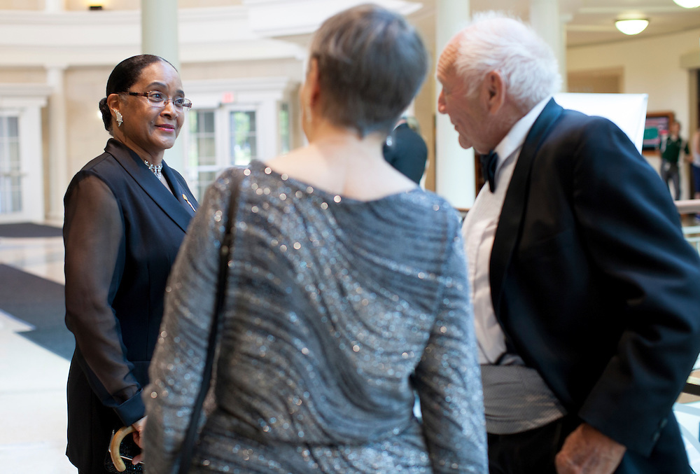 Ohio University First Lady Deborah McDavis chats before the Promise Lives Campaign Celebration Gala on Friday, Sept. 11, 2015. Photo by Kaitlin Owens