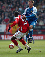 Photo: Tony Oudot.<br />Charlton Athletic v Wigan Athletic. The Barclays Premiership. 31/03/2007.<br />Lee McCulloch of Wigan challenges Souleymane Diawara of Charlton to the ball