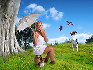 Young female milk maid in a meadow with her Jack Russell's chasing blue birds.<br /> Credits for stock items used.bird_set___eastern_blue_bird_01_by_wolverine041269-d642zgc.pngbird_set___eastern_blue_bird_01_by_wolverine041269-d642zgc.png<br /> dogstock6 by tiggstock<br /> green grass by queen stock. Images by Durban portrait and lifestyle photographer Paul Gregg for Imagemakers.