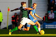Lewis Stevenson at full stretch during the Europa League match between Hibernian and Molde FK at Easter Road, Edinburgh, Scotland on 9 August 2018.