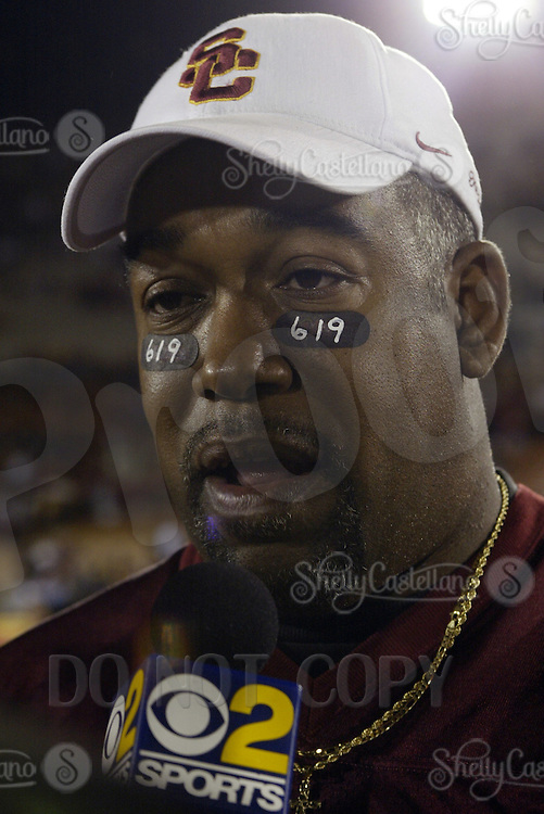 3 December 2005:Lamar Griffin the stepfather of the 2005  Heisman winner #5  Reggie Bush speaks to the media at the Coliseum during a USC 66 win over UCLA 19 College Football Pac-10 rivilary showdown at the Los Angeles Memorial Coliseum, CA. Bush ran for 260 yards and two touchdowns during the Trojans 34th consecutive win and the 16th straight against a ranked opponent.