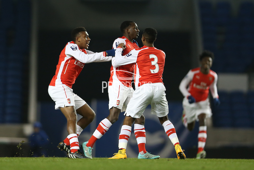 GLEN KAMARA scores a goal during the Barclays U21 Premier League match between Brighton U21 and Arsenal U21 at the American Express Community Stadium, Brighton and Hove, England on 1 December 2014.