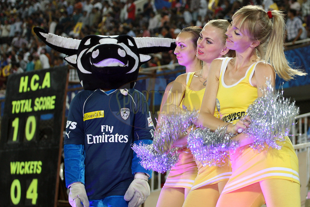 Kingfisher Dancers with the Deccan Chargers mascot on stage during match 68 of the the Indian Premier League ( IPL) 2012  between The Deccan Chargers and the Rajasthan Royals held at the Rajiv Gandhi Cricket Stadium, Hyderabad on the 18th May 2012..Photo by Jacques Rossouw/IPL/SPORTZPICS