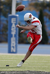 25 November 2006: Bobby Kelsey kicks off.&#xD;The Redbirds romped the Panthers by a score of 24-13.&#xD;This game was a 1st round NCAA Division 1 Playoff held at O'Brien Stadium on the campus of Eastern Illinois University in Charleston Illinois.<br />