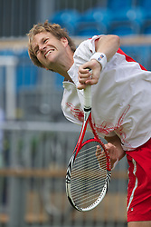 LIVERPOOL, ENGLAND - Wednesday, June 19, 2013: Seb Jackson in action during the Men's Qualifying Final on Kids Day at the Liverpool Hope University International Tennis Tournament at Calderstones Park. (Pic by David Rawcliffe/Propaganda)