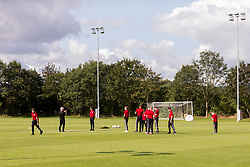 WREXHAM, WALES - Tuesday, August 13, 2019: Wales' players inspect the pitch before the UEFA Under-15's Development Tournament match between Wales and Cyprus at Colliers Park. (Pic by Paul Greenwood/Propaganda)