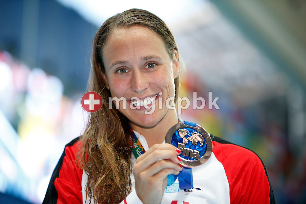 Rikke Moller (Moeller) PEDERSEN of Denmark poses with her Bronze medal after finishing third in the women's 200m Breaststroke Final during the 16th FINA World Swimming Championships held at the Kazan arena in Kazan, Russia, Friday, Aug. 7, 2015. (Photo by Patrick B. Kraemer / MAGICPBK)