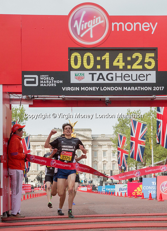Toby Osman, from Yorkshire and Humberside, wins the British Athletics Road Championship at the Mini Marathon. The Virgin Money London Marathon, 23rd April 2017.<br /> <br /> Photo: Roger Allen for Virgin Money London Marathon<br /> <br /> For further information: media@londonmarathonevents.co.uk