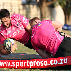 Jean-Luc du Preez of the Cell C Sharks tackling Ruan Botha of the Cell C Sharks during the Cell C Sharks training, Jonsson Kings Park Stadium,Durban South Africa.27,06,2018 Photo by (Steve Haag REX Shutterstock )