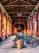 Student bicycles parked in the Southwest Loggia of Flagler College in St. Augustine