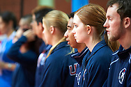 Athelete from USA while opening ceremony during of The Special Olympics Unified Volleyball Tournament at Ursynow Arena in Warsaw on August 27, 2014.<br /> <br /> Poland, Warsaw, August 27, 2014<br /> <br /> For editorial use only. Any commercial or promotional use requires permission.<br /> <br /> Mandatory credit:<br /> Photo by © Adam Nurkiewicz / Mediasport