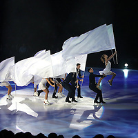 Professional ice skaters participate in the opening number during the Stars on Ice Figure Skating tour stop at the Amway Center on Sunday, April 6, 2014 in Orlando, Florida. (AP Photo/Alex Menendez)
