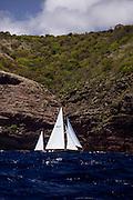 Golden Eye sailing in the Antigua Classic Yacht Regatta, Windward Race.