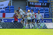 Fulham celebrate Matt Smith goal  during the Sky Bet Championship match between Cardiff City and Fulham at the Cardiff City Stadium, Cardiff, Wales on 8 August 2015. Photo by Shane Healey.