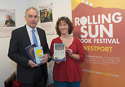 Austin Vaughan pictured with Screenwriter Lindsay J. Sedgwick at RollingSun book festival  in Westport over the weekend.<br /> Pic Conor McKeown
