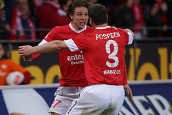 15.12.2012, Coface Arena, Mainz, GER, 1. FBL, 1. FSV Mainz 05 vs VfB Stuttgart, 17. Runde, im Bild Nicolai MUELLER - MULLER (FSV Mainz 05 - 27) und Zdenek POS PECH (FSV Mainz 05 - 3) bejubeln das 2-1 // during the German Bundesliga 17th round match between 1. FSV Mainz 05 and VfB Stuttgart at the Coface Arena, Mainz, Germany on 2012/12/15. EXPA Pictures © 2012, PhotoCredit: EXPA/ Eibner/ Gerry Schmit..***** ATTENTION - OUT OF GER *****