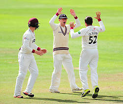 Roelof Van Der Merwe of Somerset celebrates the wicket of Keaton Jennings with Chris Rogers and Tom Abell.   - Mandatory by-line: Alex Davidson/JMP - 04/08/2016 - CRICKET - The Cooper Associates County Ground - Taunton, United Kingdom - Somerset v Durham - County Championship