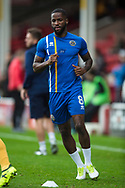 Abu Ogogo warms up ahead of the EFL Sky Bet League 1 match between Walsall and Shrewsbury Town at the Banks's Stadium, Walsall, England on 7 October 2017. Photo by Darren Musgrove.