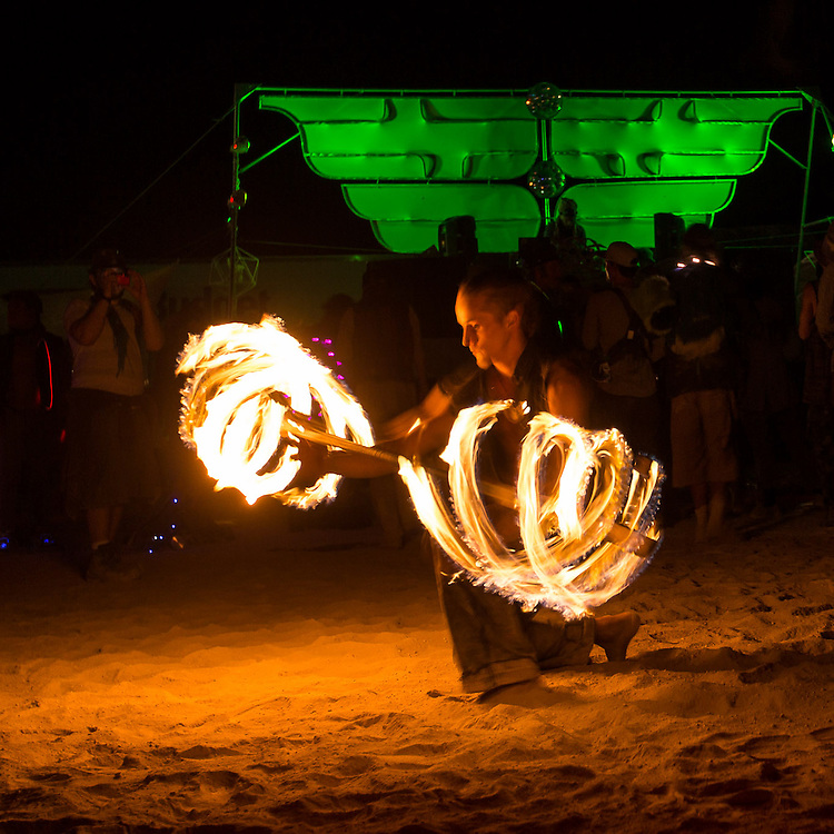 A fire dancer performing at Athame Fire Temple.